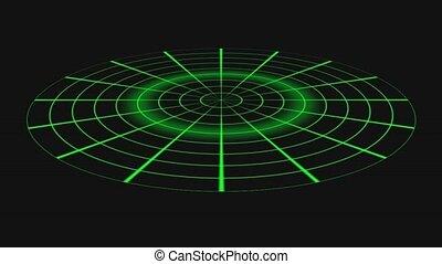 noir, écran, -, radar, animation