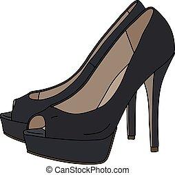 noir, élevé, chaussures, talons