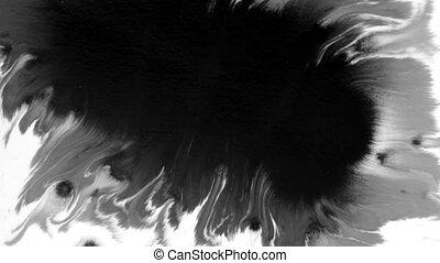 noir, acrylique, goutte, surface, peinture, écarts, 1920x1080, blanc, hd, sur