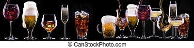 noir, alcool, boissons, isolé, ensemble