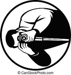 noir, appareil-photo numérique, blanc, tir, slr, photographe, retro