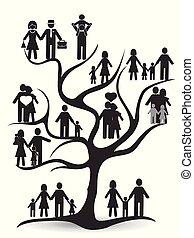 noir, arbre, famille