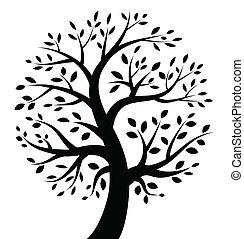 noir, arbre, icône