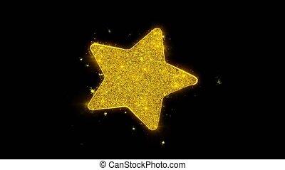 noir, arrière-plan., étincelles, icône, particules, étoile