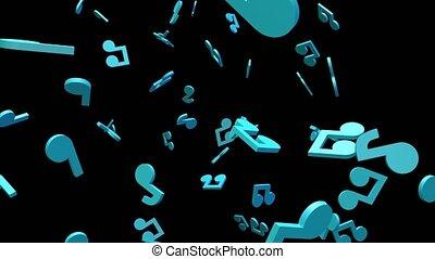 noir, arrière-plan., musical, bleu, notes