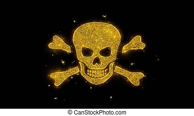 noir, arrière-plan., os croisés, étincelles, icône, crâne, particules
