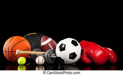 noir, assorti, équipement, sports