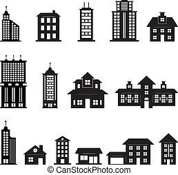 noir, bâtiment, 3, ensemble, blanc