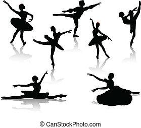 noir, ballerines, silhouettes