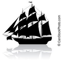 noir, bateau, vieux