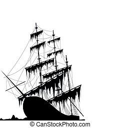 noir, bateau, vieux, mer, terrestre