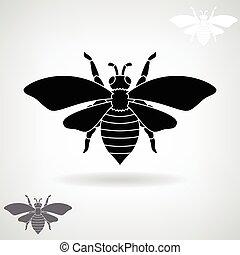 noir, bee., silhouette