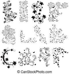 noir, blanc, ensemble, angle, fleurs