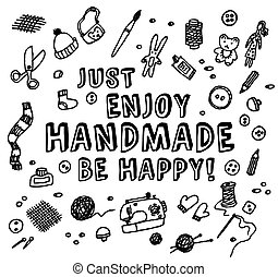 noir, blanc, fait main, carte, heureux