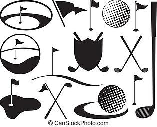 noir, blanc, golf, icônes