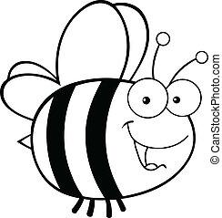 noir, blanc, mignon, abeille