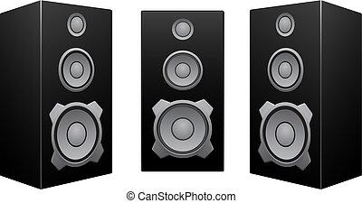 noir, blanc, orateur, fond