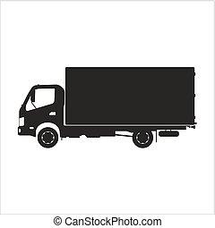 noir, blanc, silhouette, camion, fond