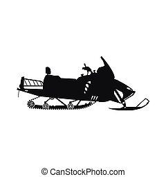 noir, blanc, silhouette, motoneige, fond