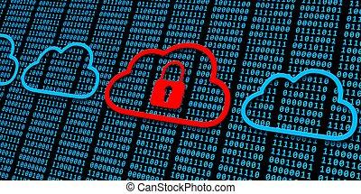 noir, bleu, fermé, -, une, sécurité, fond, nuages, sur, données, code, plusieurs, concept, binaire, cadenas
