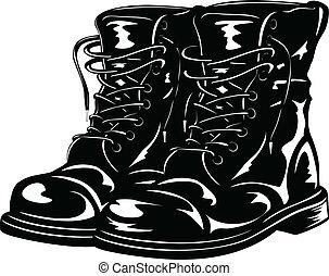 noir, bottes, armée