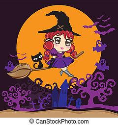 noir, broomstick., voler, sorcière, chat