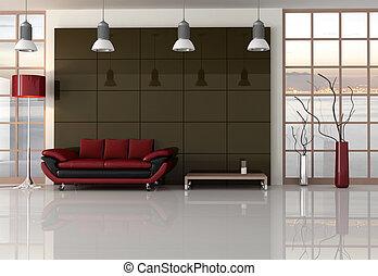 noir, brun, vivant, rouges, salle
