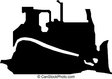 noir, bulldozer, vecteur, silhouette
