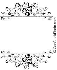 noir, cadre, blanc, floral