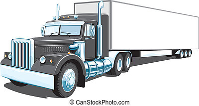 noir, camion, semi