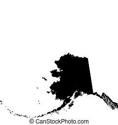 noir, carte alaska, vecteur