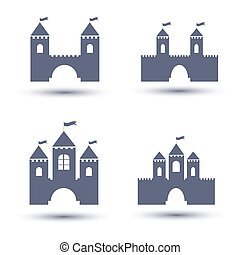 noir, château, icônes, ensemble