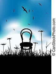 noir, chaise, silhouette, pré, été