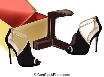 noir, chaussures, femme