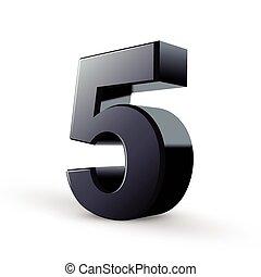 noir, cinq, lustré, nombre