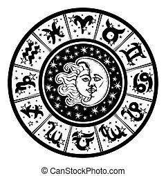 noir, circle., lune, signe, zodiaque, blanc, sun., horoscope