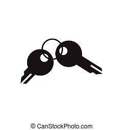 noir, clés, icône, blanc, plat