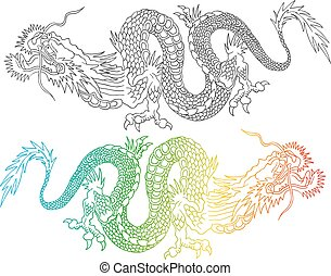 noir, coloré, chinois, dragons.