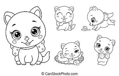 noir, contour, chats, kids., illustration, peu, page blanc, coloration, vecteur, ensemble