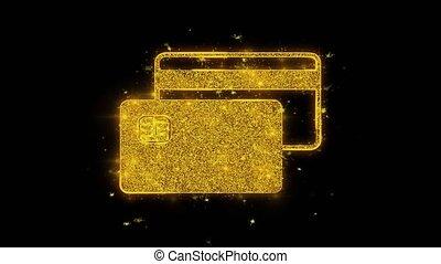 noir, crédit, arrière-plan., carte, icône, particules, étincelles