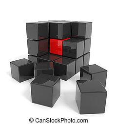noir, cube, core., assemblé, rouges