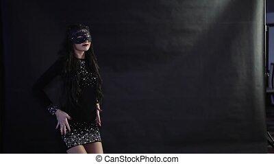 noir, danses, masque, girl, fond