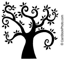 noir, dessin animé, arbre, silhouette