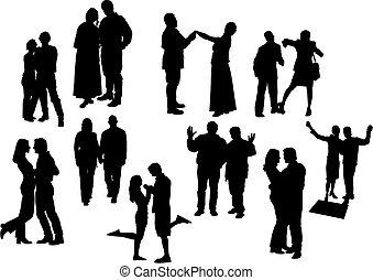 noir, dix, silhouettes., vecteur, couples, illustration., blanc