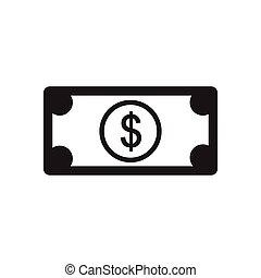 noir, dollar, icône, blanc, plat