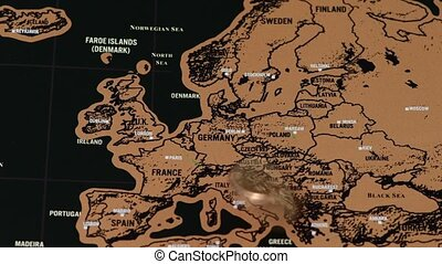 noir, doré, europe, voyage, éraflure, eu, monnaie, dollar, carte