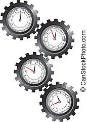 noir, engrenages, horloge