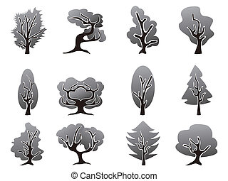 noir, ensemble, arbre, icônes