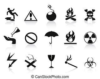 noir, ensemble, avertissement, icônes