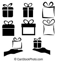 noir, ensemble, cadeau, icône, vecteur, fond, blanc